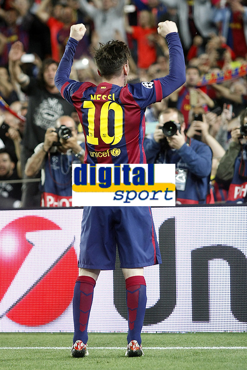 Leo Messi of Barcelona celebrates his first goal during the Champions League Semi-final 2014/2015 football match between FC Barcelona and Bayern Munchen on May 06, 2014 at Camp Nou stadium in Barcelona, Spain. Photo Bagu Blanco / DPPI