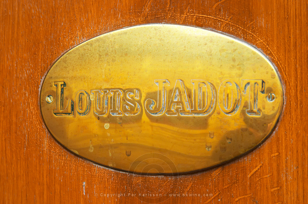 The brass plate on the entrance door of Maison Louis Jadot., Maison Louis Jadot, Beaune Côte Cote d Or Bourgogne Burgundy Burgundian France French Europe European