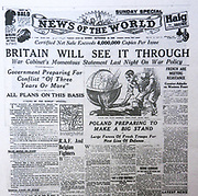 The 'News of the World' Newspaper 10th July 2011. The commemorative final edition of the newspaper carries a re-print of the Issue marking the death outbreak of World War II in September 1939