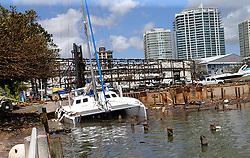 A sunken catamaran at Grove Key Marina in Miami, after Hurricane Irma passed over South Florida, on Tuesday, September 12, 2017. Photo by Pedro Portal/El Nuevo Herald/TNS/ABACAPRESS.COM