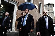 Il Presidente della Camera Gianfranco Fini prima di arrivare ai funerali di Pino Rauti. Roma - Basilica San Marco. 5 novembre 2012. Matteo Ciambelli / OneShot
