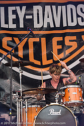Drummer Zach Ballard of the Jasmine Cain band performs on the Harley-Davidson Stage at the Full Moon Saloon during Daytona Beach Bike Week. FL. USA. Sunday March 12, 2017. Photography ©2017 Michael Lichter.