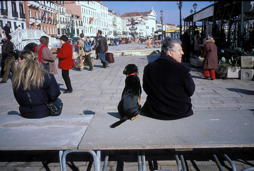 Riva degli Schiavoni, Venice, view along the length of the walk.  In the foreground, a raised walkway put up in anticipation of aqua alta provides seating for a man in a black coat and his black labrador dog, each looking in a different direction.