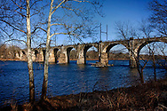 Old railroad bridge over the Delaware River looking from Yardley, Pennsylvania to Trenton New Jersey.