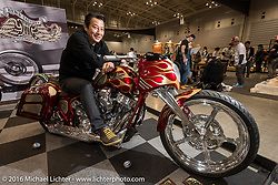 Ken Nagai on his all hand made Harley-Davidson Twin Cam Bagger at the Mooneyes Yokohama Hot Rod & Custom Show. Yokohama, Japan. December 3, 2016.  Photography ©2016 Michael Lichter.