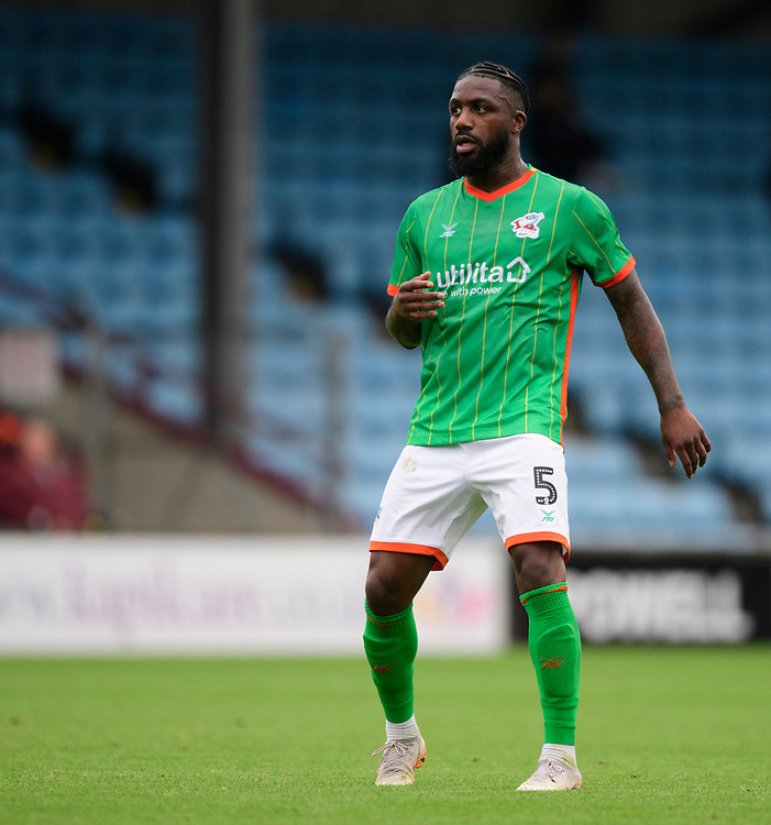 Scunthorpe United's Yann Songo'o<br /> <br /> Photographer Chris Vaughan/CameraSport<br /> <br /> Football Pre-Season Friendly - Scunthorpe United v Lincoln City - Saturday 27th July 2019 - Glanford Park - Scunthorpe<br /> <br /> World Copyright © 2019 CameraSport. All rights reserved. 43 Linden Ave. Countesthorpe. Leicester. England. LE8 5PG - Tel: +44 (0) 116 277 4147 - admin@camerasport.com - www.camerasport.com