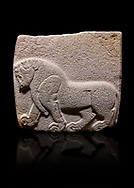 Aslantepe Hittite relief sculpted orthostat stone panel. Limestone, Aslantepe, Malatya, 1200-700 B.C. . Anatolian Civilisations Museum, Ankara, Turkey. Depiction of a horse walking .<br /> <br /> Against a black background. <br /> <br /> If you prefer to buy from our ALAMY STOCK LIBRARY page at https://www.alamy.com/portfolio/paul-williams-funkystock/hittite-art-antiquities.html . Type - Aslantepe - in LOWER SEARCH WITHIN GALLERY box. Refine search by adding background colour, place, museum etc.<br /> <br /> Visit our HITTITE PHOTO COLLECTIONS for more photos to download or buy as wall art prints https://funkystock.photoshelter.com/gallery-collection/The-Hittites-Art-Artefacts-Antiquities-Historic-Sites-Pictures-Images-of/C0000NUBSMhSc3Oo