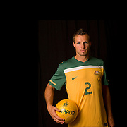 Australia Socceroos  Captain Lucas Neill during a studio shoot before the match with New Zealand in Melbourne as they prepare for world cup in South Africa . 21st May 2010 . Photo Tim Clayton