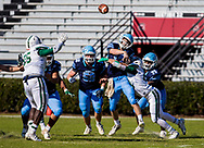 Dorman Cavaliers quarterback Hayden Lee (13) passes as he's hit against the Dutch Fork Silver Foxes in the Class AAAAA State Championship Game at Williams-Brice Stadium in Columbia, SC. Dutch Fork wins their 4th straight state championship at Williams Brice Stadium. Photos ©JeffBlakePhoto.com