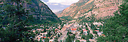 Panoramic view of Ouray, Colorado, USA, from Bird Hill; August 2010