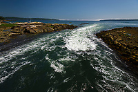 Tidal change along a rough coast line, Blue Hill, Maine, USA.