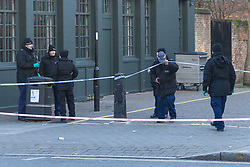 Police conduct a fingertip search just yards from where where a 17 year-old boy died after being stabbed on Caledonian Road, Islington, North London. London, January 30 2019.