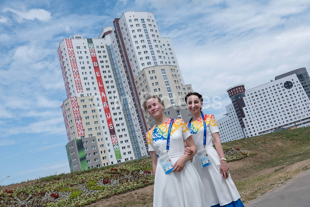 Two female Belarusian volunteers outside the athletes village for the 2nd European Games on the 20th June 2019 in Minsk in Belarus. The 2nd European Games is held in Minsk, Belarus from the 21st June to the 30th June.