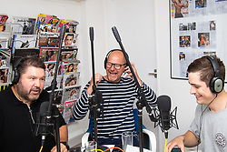"L-R Ricky Grover, Miles Chapman and Sam Underwood record their bi-weekly 'If You're Happy and You Know It""  podcast in London. The podcast is a freewheeling comic discussion centred around mental health and depression issues London, June 12 2018."
