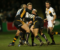 Photo: Rich Eaton.<br /> <br /> Worcester Rugby v London Wasps. Guinness Premiership. 26/01/2007. Josh Lewsey of Wasps is tackled by the Worcester midfield of Dale Rasmussen and Gary Trueman