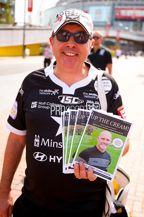 Hull fanzine seller during the Ladbrokes Challenge Cup Final 2017 match between Hull RFC and Wigan Warriors at Wembley Stadium, London, England on 26 August 2017. Photo by Simon Davies.