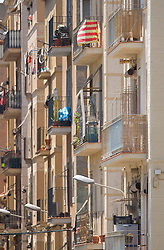 Building facade old balcony apartment crowded