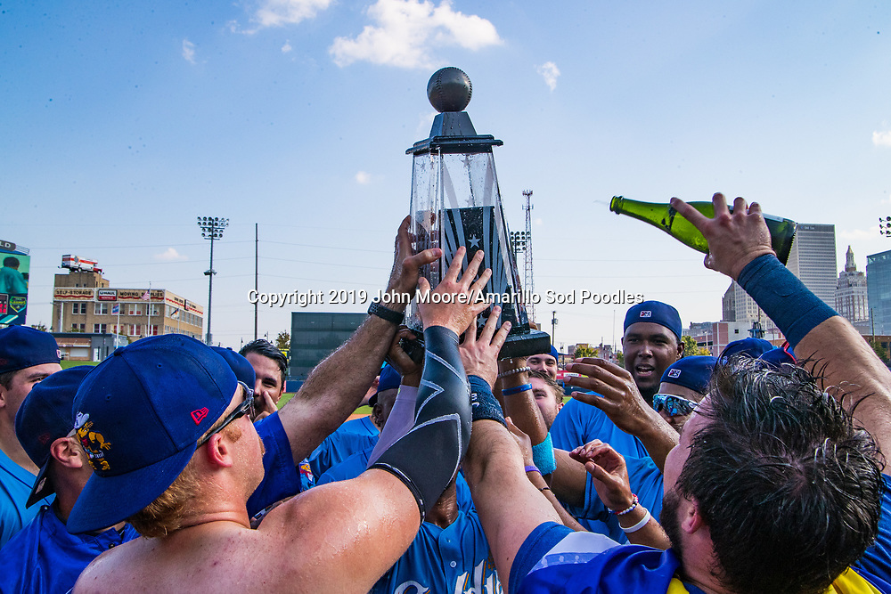 The Amarillo Sod Poodles celebrate after winning against the Tulsa Drillers during the Texas League Championship on Sunday, Sept. 15, 2019, at OneOK Field in Tulsa, Oklahoma. [Photo by John Moore/Amarillo Sod Poodles]