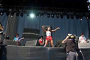 Friday, August 1, 2008; The Go! Team performs at Lollapalooza 2008 featuring Ninja (Nkechi Ka Egenamba) - rapper/vocalist, Ian Parton - electric guitar, harmonica, and drums, Sam Dook - electric guitar, banjo, and drums, Chi Fukami Taylor - drums, vocals, Kaori Tsuchida - vocals, electric guitar, keys, and melodica, Jamie Bell - bass.<br /> Photo by Bryan Rinnert