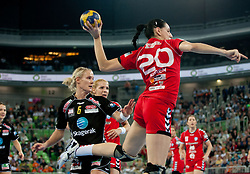 Tine Kristiansen of Larvik vs Alja Koren of Krim during handball match between RK Krim Mercator and Larvik HK (NOR) of Women's EHF Champions League 2011/2012, on November 13, 2011 in Arena Stozice, Ljubljana, Slovenia. Larvik defeated Krim 22-19 but both teams qualified to new round. (Photo By Vid Ponikvar / Sportida.com)