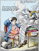 Income Tax: John Bull scratches his head at William Pitt's (1759-1806) introduction of Income Tax. Pitt is shown as angel playing harp.  Hand-coloured cartoon in style of Gillray: 1798.