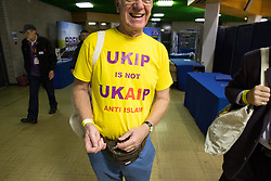 © Licensed to London News Pictures . 29/09/2017 . Torquay , UK . A UKIP delegate wearing an anti Islam t-shirt at the conference venue . The UK Independence Party Conference at the Riviera International Centre . UKIP is due to announce the winner of a leadership election which has the potential to split the party . Photo credit: Joel Goodman/LNP