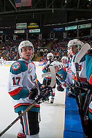 KELOWNA, CANADA - FEBRUARY 10: Rodney Southam #17 of the Kelowna Rockets trash talks the Vancouver Giants' bench on February 10, 2017 at Prospera Place in Kelowna, British Columbia, Canada.  (Photo by Marissa Baecker/Shoot the Breeze)  *** Local Caption ***