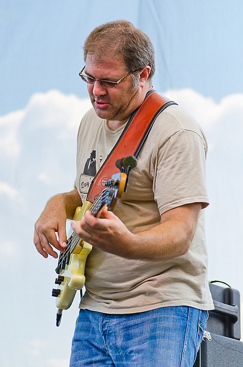 A.J Kelly, bassist with Albert Castiglia, on stage at The Wilmington Blues Festival in Wilmington, DE.