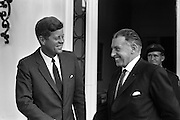 President John F. Kennedy leaving the U.S. Emabssy in Dublin, Ireland, after talks with An Taoiseach Seán Lemass.  The President John F. Kennedy then left for a visit to his ancestral home in Wexford.Co wexford, Ireland. 27.06.1963