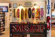 Vintage skateboards and wheels on display at Morro Bay Skateboard Museum (former location), California, USA.