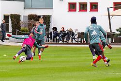 14.03.2019, Säbener Strasse, Muenchen, GER, 1. FBL, FC Bayern Muenchen vs 1. FSV Mainz 05, Training, im Bild v.l. Thomas Müller (FC Bayern), Joshua Kimmich (FC Bayern), Kingsley Coman (FC Bayern) // during a trainings session before the German Bundesliga 26th round match between FC Bayern Muenchen and 1. FSV Mainz 05 at the Säbener Strasse in Muenchen, Germany on 2019/03/14. EXPA Pictures © 2019, PhotoCredit: EXPA/ Lukas Huter