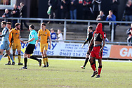Lewis Young of Crawley Town  covers his face with his shirt as he looks dejected after the final whistle as his team loses 1-0.  EFL Skybet football league two match, Newport county v Crawley Town at Rodney Parade in Newport, South Wales on Saturday 1st April 2017.<br /> pic by Andrew Orchard, Andrew Orchard sports photography.