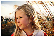 Portrait - young girl in sunset