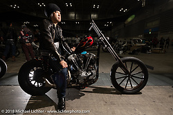 Takashi Kawata, owner of Daikobe Kyoeiken, a Japanese motorcycle parts manufacturer, on his 1947 Harley-Davidson FL Knucklehead chopper he built at the 27th Annual Mooneyes Yokohama Hot Rod Custom Show 2018. Yokohama, Japan. Sunday, December 2, 2018. Photography ©2018 Michael Lichter.