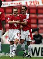 Photo: Rich Eaton.<br /> <br /> Bristol City v Crewe Alexander. Coca Cola League 1. 14/10/2006. Scott Brown #12 celebrates the second gaol for Bristol with Scott Murray #7 who scored the first