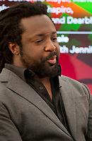 Novelist Marlon James during the 'New World Order' talk at the Dalkey Book Festival, Dalkey, County Dublin, Ireland, Thursday 15th June 2017. Photo credit: Doreen Kennedy