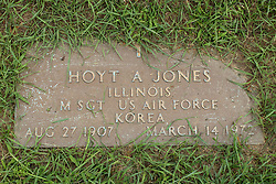 31 August 2017:   Veterans graves in Park Hill Cemetery in eastern McLean County.<br /> <br /> Hoyt A Jones  Illinois Master Sergeant  US Air Force  Korea  Aug 27 1907  March 14 1972