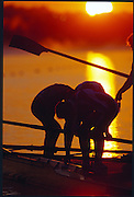 Sydney. AUSTRALIA, Crews boating for the morning training session as the sun rises of the Sydney International Rowing Course, venue for the 2000 Olympic Games - Olympic Regatta; Penrith, [Mandatory Credit: Peter Spurrier: Intersport Images] Sydney International Regatta Centre (SIRC) 2000 Olympic Rowing Regatta00085138.tif