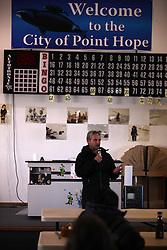 USA ALASKA POINT HOPE 22JUL12 - Captain Daniel Risotti, captain of the Greenpeace ship  Esperanza speaks during the community meeting at Point Hope, North Slope Borough, Alaska. ..Point Hope is one of the oldest continually occupied sites in North America.......Photo by Jiri Rezac / Greenpeace..© Jiri Rezac / Greenpeace