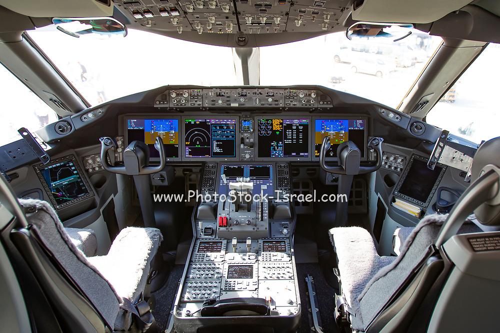 Interior of the cockpit of an El Al Boeing 787-9 Dreamliner Photographed at Ben-Gurion Airport, Israel