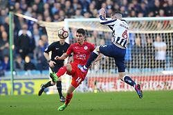 February 18, 2017 - London, Greater London, England - Leicester City midfielder Bartosz Kapustka (14) wins the ball against Millwall midfielder Shaun Williams (6) during the FA Cup Fifth Round match between Millwall and Leicester City at The Den on February 18th 2017 in London, England. (Credit Image: © Leila Coker/VW Pics via ZUMA Wire/ZUMAPRESS.com)
