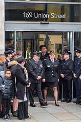 © Licensed to London News Pictures. 23/12/2019. London, UK. London Fire Brigade Commissioner Dany Cotton walks out of the main entrance to the brigades headquarters in Union Street as firefighters hold a Guard of Honour. Firefighters from across the UK and several from overseas attended the unofficial event. Commissioner Cotton is retiring in the wake of the Grenfell Fire. Photo credit: Peter Manning/LNP