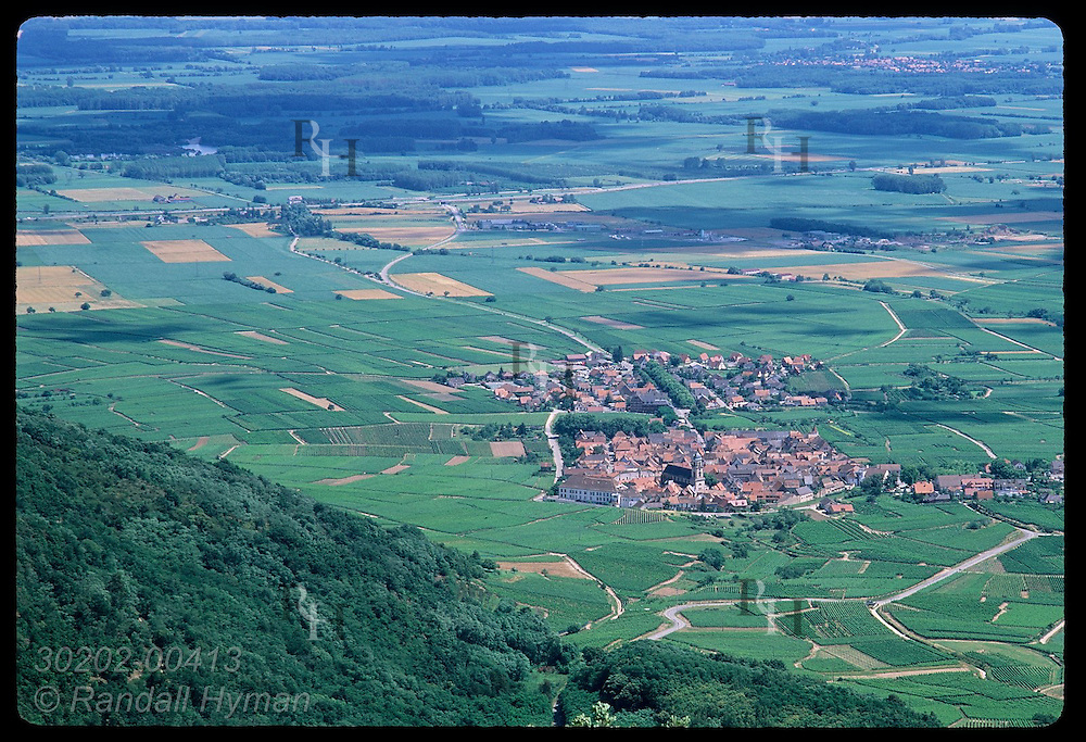 Town of St. Hippolyte seen from atop Le Haut Koenigsbourg castle in Vosges Mountains of Alsace. France