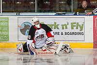 KELOWNA, CANADA - OCTOBER 18:   Mac Engel #30 of the Prince George Cougars warms up on the ice as the Prince George Cougars visit the Kelowna Rockets on October 18, 2012 at Prospera Place in Kelowna, British Columbia, Canada (Photo by Marissa Baecker/Shoot the Breeze) *** Local Caption ***
