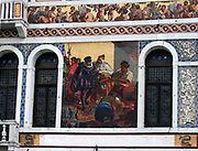 Mosaic detail from The Palazzo Barbarigo, a palace on the Grand Canal in Venice, Italy. The palazzo was built in the 16th century but the mosaics were added in 1886. Made from of Murano glass and inspired by the exterior mosaics on the facade of St Mark's Basilica.