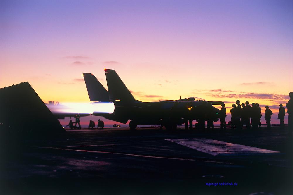F-14 dusk cat shot in full afterburner