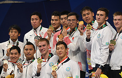 JAKARTA, Aug. 24, 2018  Medal-winning teams of China, Japan and Kazakhstan attend the awarding ceremony of men's 4x100m medley relay final of swimming at the 18th Asian Games in Jakarta, Indonesia, Aug. 24, 2018. China won the gold medal. (Credit Image: © Pan Yulong/Xinhua via ZUMA Wire)