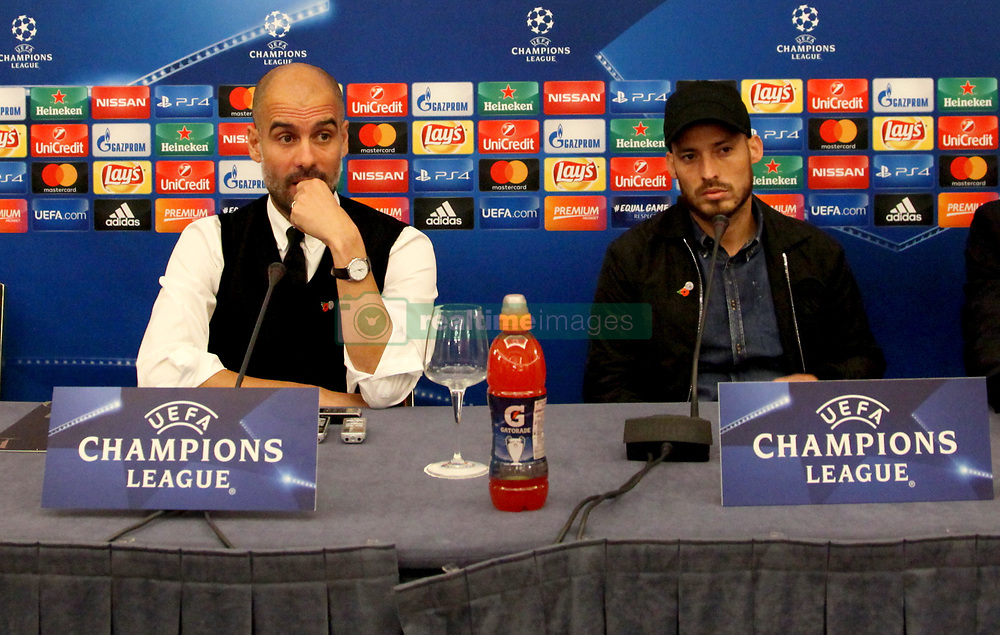 This evening at the Vesuvius hotel in Naples there was the press conference of Manchester City coach, Josep Guardiola and player David Silva who responded to journalists' doubts over the league's Champions League tomorrow against Napoli. In Foto Guardiola - Silva
