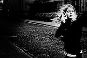 """a girl speaks to mobile phone.The shadow line is a trip, a trip losing myself, looking for myself.<br /> Like the romance """"the shadow line"""" by Joseph Conrad (1917).<br /> I was in Italy, England, Bosnia, Montenegro, Serbia..<br /> It isn't a reportage, it isn't a story.<br /> It is a searching.."""