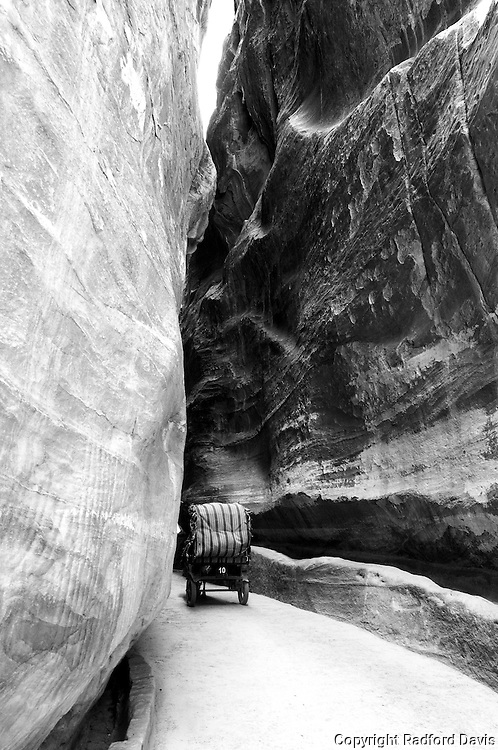 A carriage carries a tourist from the Treasury building back to the main entrance of Petra.